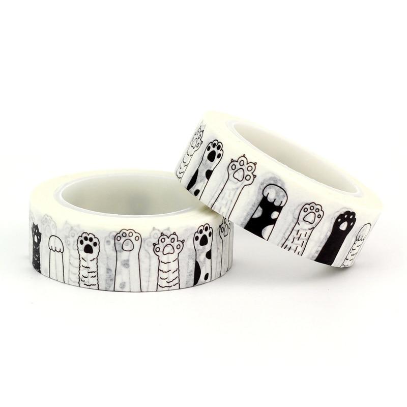 1X 15mmx10m Black and White Japanese Washi Tape Decorative Paper Tape DIY Scrapbook Paper Photo Album Adhesive Masking Tape Set