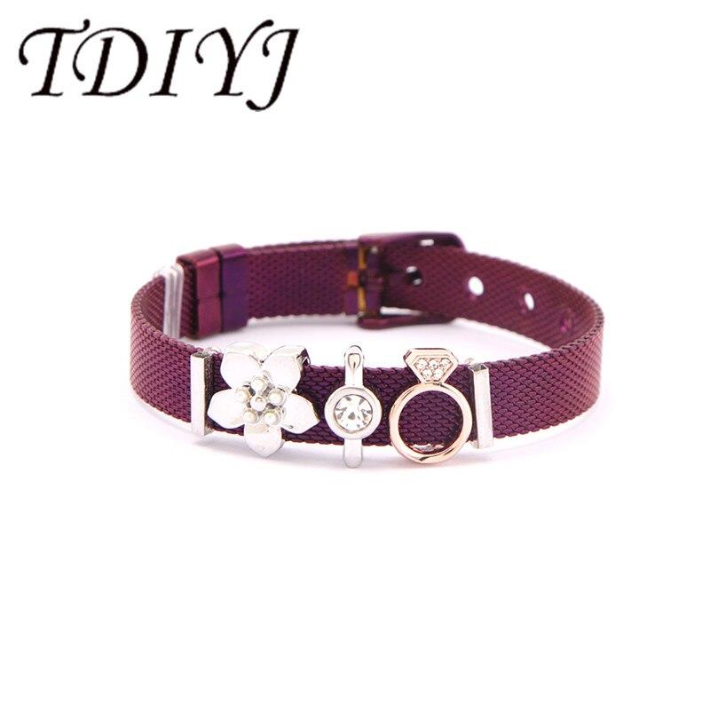 TDIYJ дропшиппинг голограмма Нержавеющая сталь сетка браслет мама цветок подарок для женщин ювелирные изделия 1 комплект