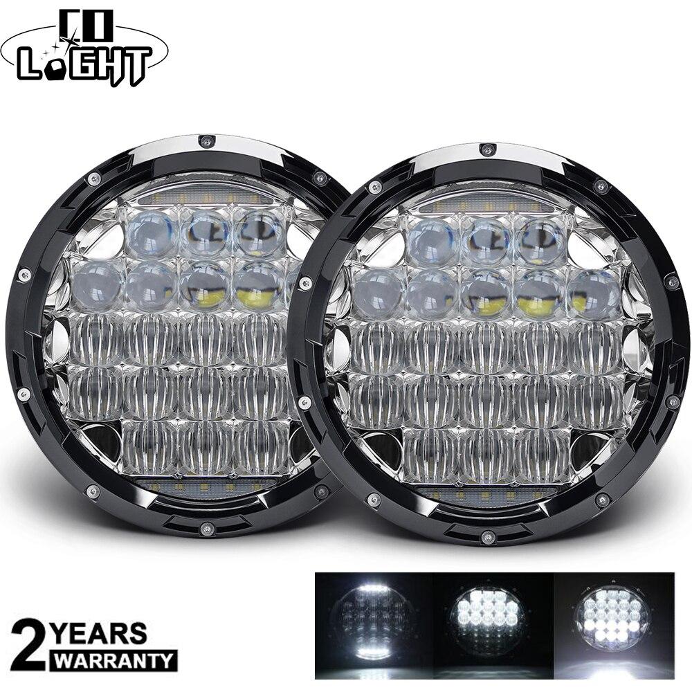 "Co luz 5d 7 ""led drl h4 led faróis 105 w 7 polegada led farol alto baixo feixe para lada niva 4x4 hummer jeep wrangler 12 v 24 v"