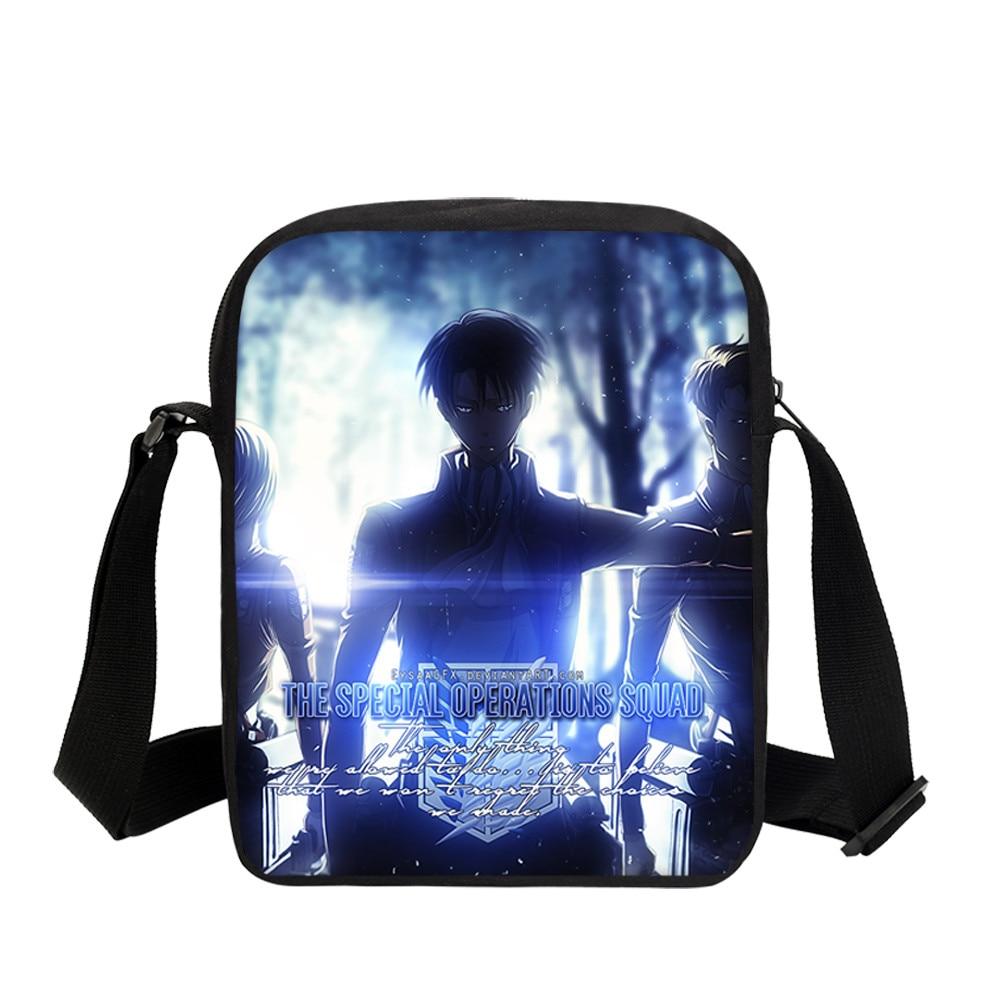 Veevanv 3d impressões femininas mensageiro sacos de ombro moda ataque no titã meninas escola mochila viagem pequena crossbody bolsas meninos