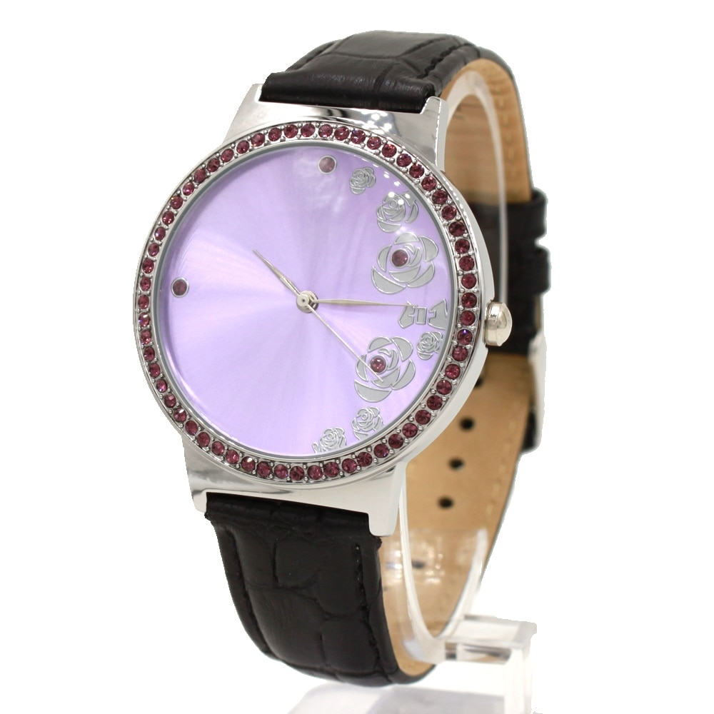 Round Violet Dial Black Genuine Leather Band Women 100% Tested 3ATM Crystal Fashion Watch FW498K enlarge