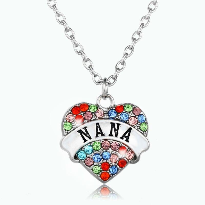 Collares de abuela con corazón de cristal a la moda, joyería para mujer, regalos de abuela, colgante con abalorio