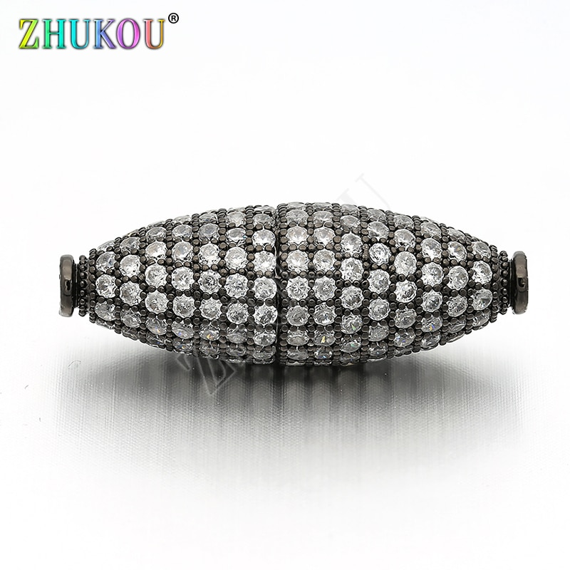 10*29mm latón embutido cúbico Zirconia abalorios espaciadores ovalados DIY Fabricación de collares y pulseras, modelo VZ49
