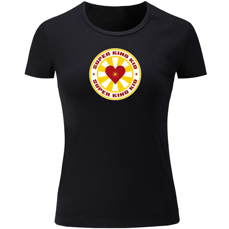 Camiseta de verano con cuello redondo de algodón para mujer, camiseta de verano personalizada con el diseño de un chico muy bueno y valiente