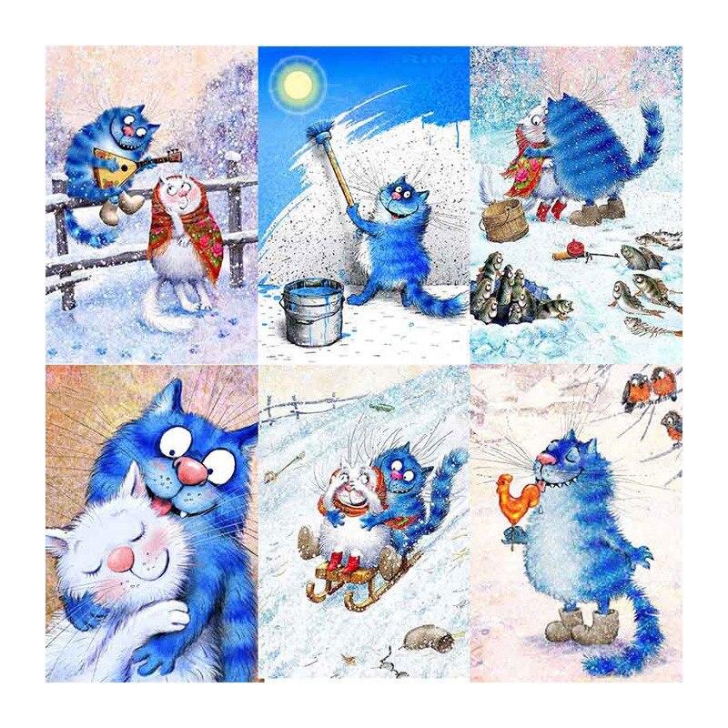 5d diy bordado de diamantes de dibujos animados Gato Azul pintura de diamantes de punto de cruz completo cuadrado Rhinestone mosaico decoración del hogar