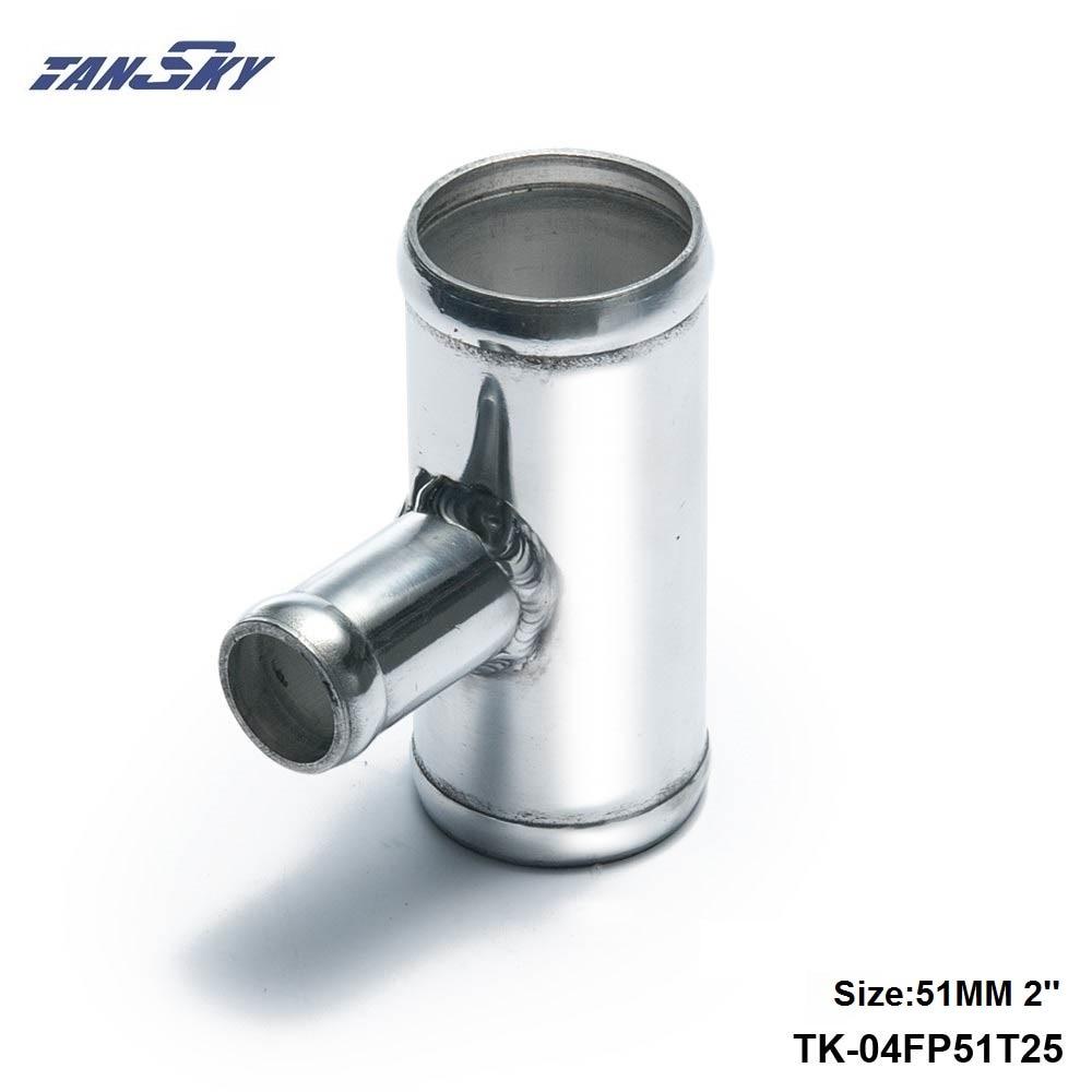 "Tubo de aluminio de 2 ""a 2"" de 51mm a 51mm Tubo en forma de T para BOV OD de 25mm para Jeep Wrangler YJ/TJ 87-06 TK-04FP51T25"