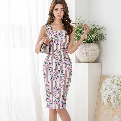 J41046 جديد وصول الصيف اللباس OL سيدة الأزياء الأزهار طباعة فساتين