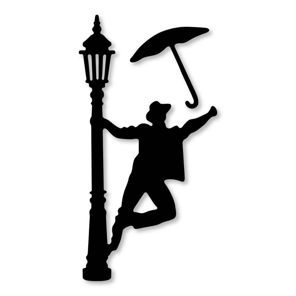 New Street lamp Umbrella Man Set Metal Cutting Dies Stencil Craft for DIY Scrapbooking Album Embossing Paper Card Decor Template