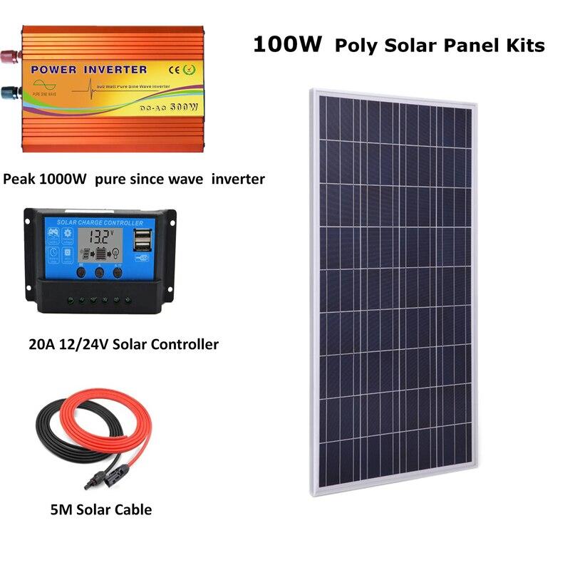 مجموعة الألواح الشمسية 100 واط مع عاكس موجة نقية 1000 واط ، 100 واط ، وحدة تحكم LCD PWM 20A ، نظام خارج الشبكة