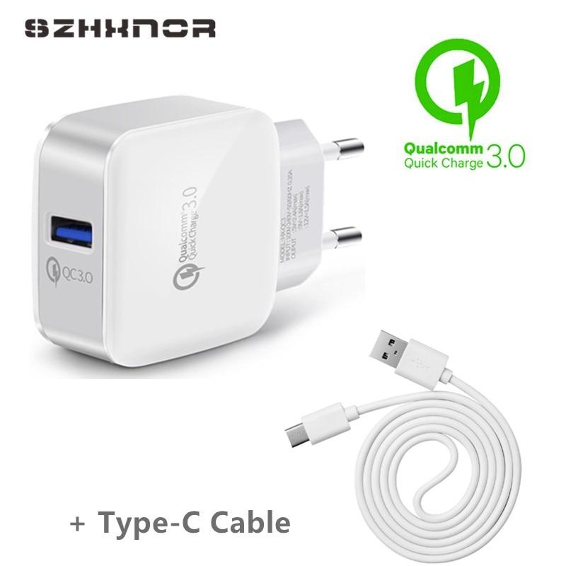 Cargador rápido QC3.0 3,0 para Asus ZenFone 4 ZE554KL, 4 Pro ZS551KL ZS571KL ZE552KL ZE520KL ZS550KL ZS570KL + USB tipo C