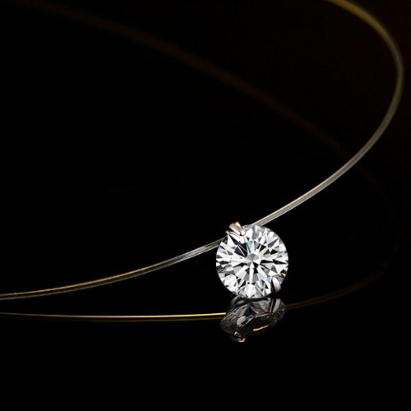 Fashion Transparent Fishing Line Necklace Clear Zircon Pendant Necklace Decorative Crystal Rhinestone Women Necklace