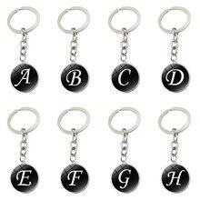 Alphabet porte-clés anneau 26 anglais lettres initiales nom porte-clés voiture portefeuille sacs à main accessoires pour filles femmes hommes
