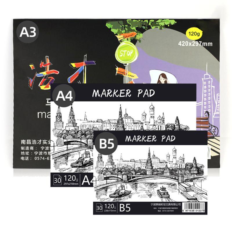 A3/A4/B5 блокнот для рисования блокнот эскиз книга для маркера художественный дневник студенческие подарки 30 листов
