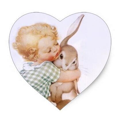 1,5 pulgadas pegatina antiguo Adorable conejo de pascua abrazos