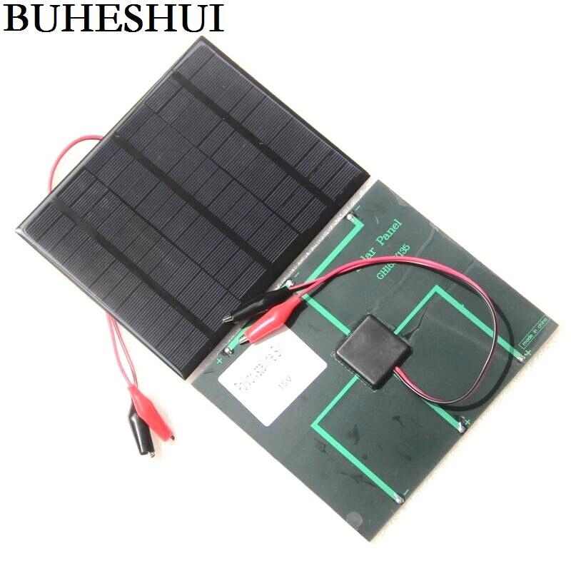 Panel Solar policristalino de célula Solar buhebhui 3,5 W 18V + Clip de cocodrilo para cargar Cargador Solar de batería de 12V 165*135*3MM