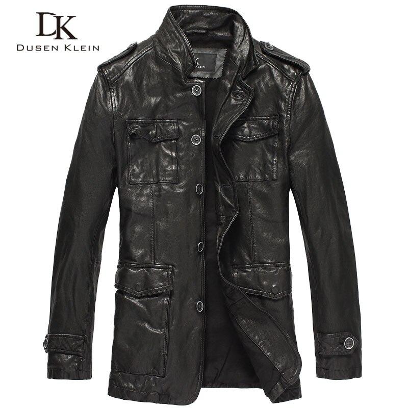 Chaqueta de cuero de motociclista para hombre, piel de oveja auténtica de longitud media, Dusen Klein, ropa de cuero de motocicleta curtida con verduras DK061