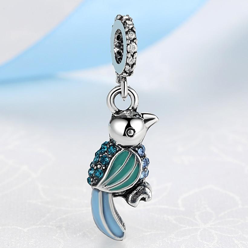 NBSAMENG cuentas de loro de cristal Rosa lindo encanto Animal DIY colgante abalorios chapados en plata pulseras y brazaletes collar joyería