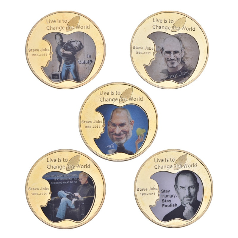 WR Gold Plated Coins Steve Jobs US Famous People Collectible Coins Art Gifts For Coin Collectibles Souvenir Gift For Business