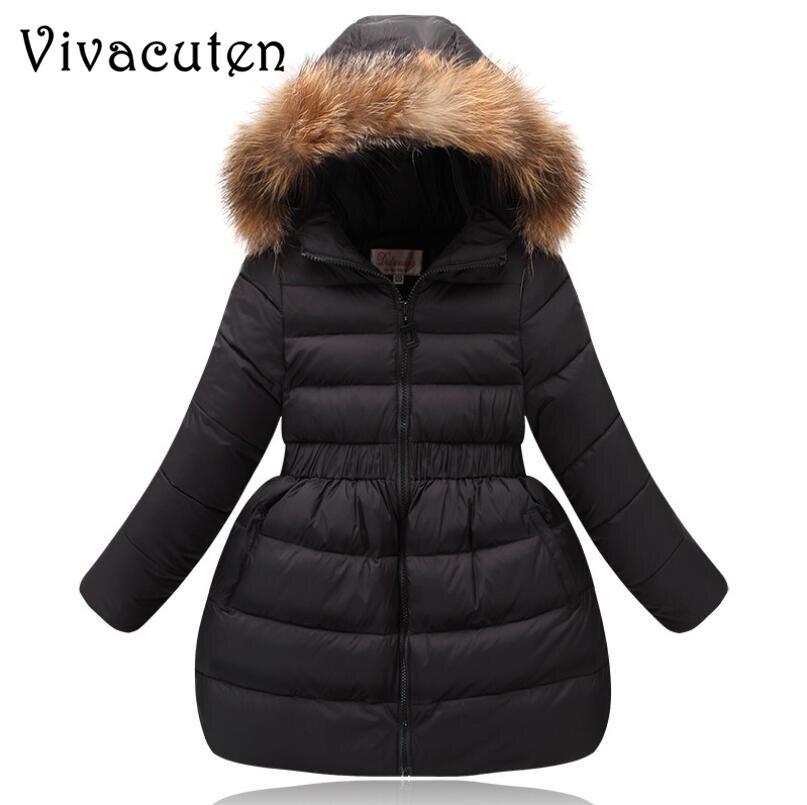Niñas abrigo de invierno niños ropa niños falso Collar de piel con capucha gruesa abrigo chaquetas de invierno para niñas cálido prendas de vestir abrigo para adolescentes