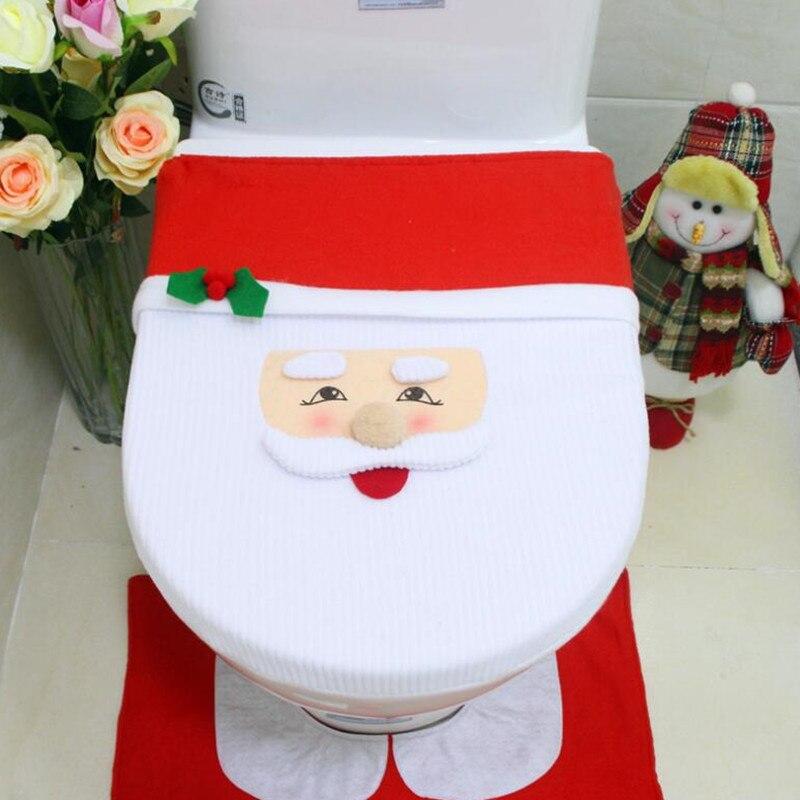 Cubierta de asiento de inodoro de Santa, adornos navideños para decoración de...