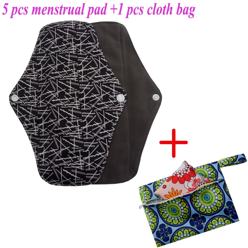 5 almohadillas menstruales de tela toalla lavable sanitario reutilizable toalla sanitaria absorbente reutilizable carbón de bambú almohadillas menstruales bolsa 5 + 1