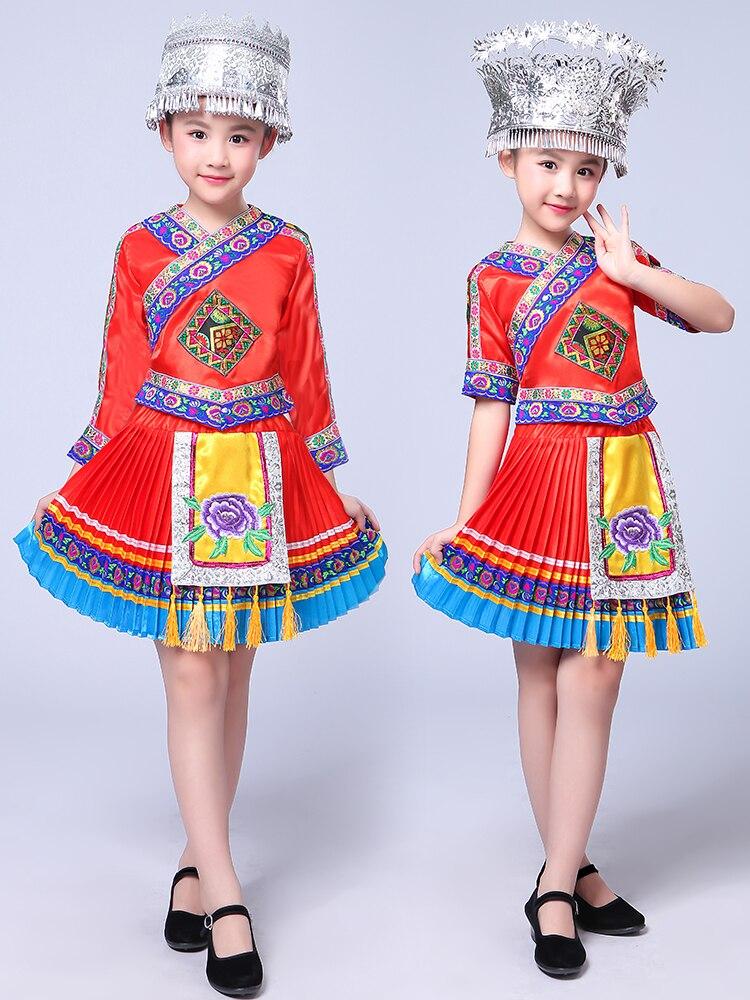 Disfraz de Baile Folclórico chino para niños Hmong, traje de danza tradicional china para niñas, traje de baile Miao, actuación en escenario