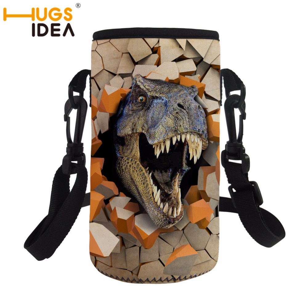 HUGSIDEA New Warm Neoprene 550/500ML Dinosaur Print Water Bottle Bags Thermos Cup Bag With Adjust Strap Custom Bottle Cover