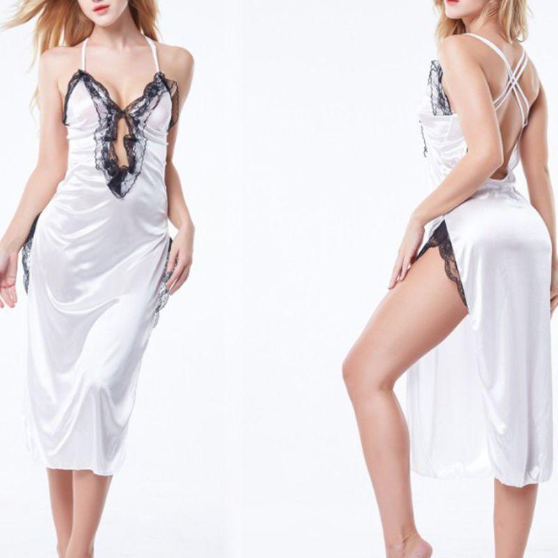Women Sexy Faux Silk V-Neck Lingerie Dress Backless Cross Bandage Lace Splicing Nightgown Hollow Front Side High Split Sleepwear