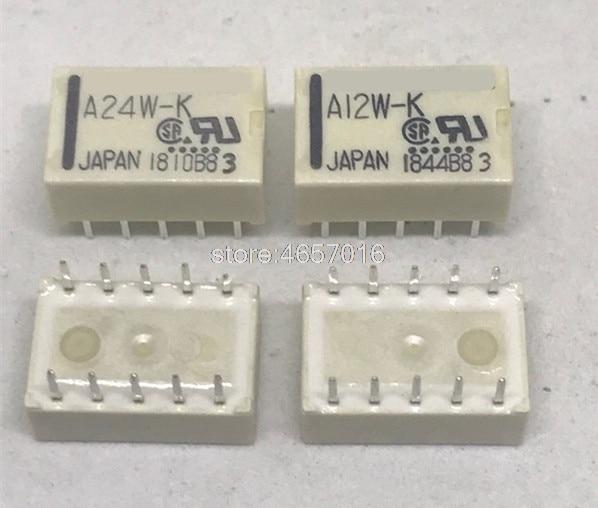 10 unids/lote relé de A5W-K A12W-K A24W-K 5VDC 12VDC 24VDC 10-12 V pin 5V 24V DIP-10