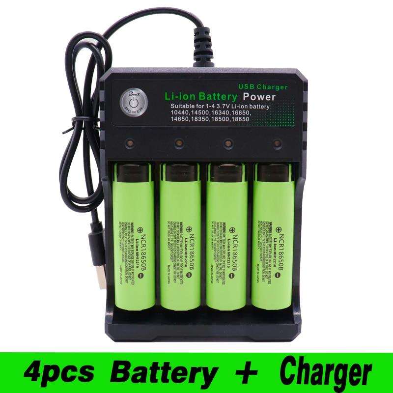 2020 18650 литий-ионная аккумуляторная батарея для Panasonic NCR 18650B 3400mAh фонарик инструмент + USB Quad Smart Char