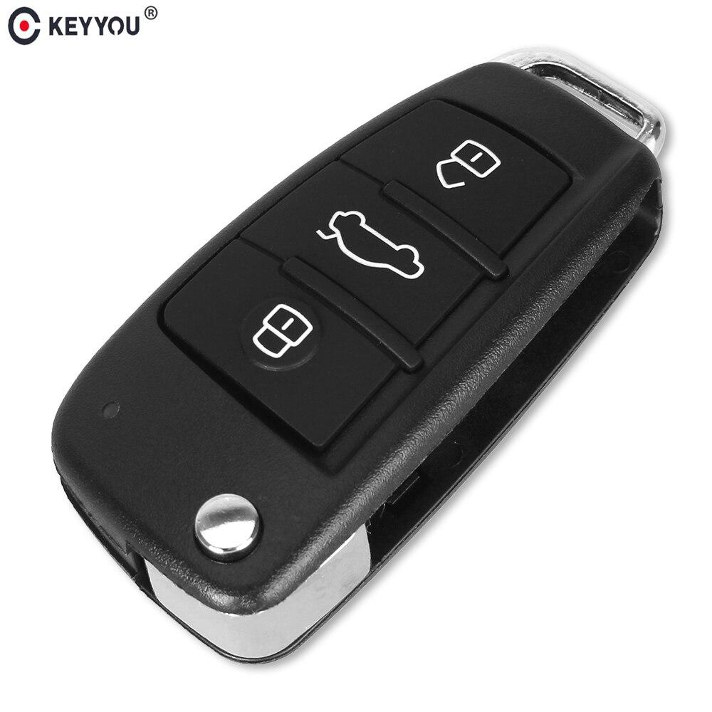 KEYYOU 5pcs/lot Replacement Folding Flip Remote Car Key Shell Case 3 Button Case For AUDI No Blade