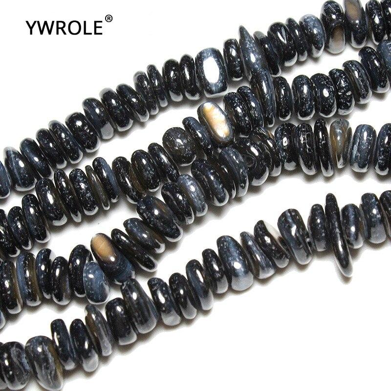 5-8mm venta al por mayor negro grava forma de tinte Conch Natural Shell Stone Beads para fabricación de joyería DIY pulsera collar de hilo 15