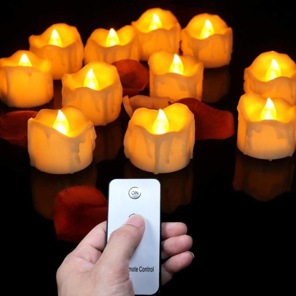Velas eléctricas de Control remoto de luz amarilla de Flash, velas de...