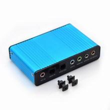 Blauw 6 Kanaals Geluidskaart Externe 5.1 Surround Sound USB 2.0 Externe Optische S/PDIF Audio Geluidskaart Adapter voor PC Laptop