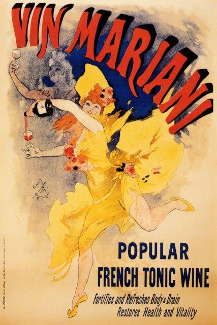 Cartel Vintage de vino con bebidas alcohólicas, cuadros clásicos de lienzo vin mariani franceses, pósteres de pared, pegatinas para decoración del hogar, regalo