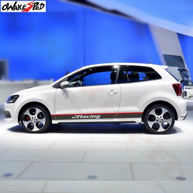 Calcomanías de rayas de carreras deporte para puerta de coche faldón lateral pegatinas para Volkswagen POLO GOLF GT 3-5 puertas accesorios de carrocería de coche impermeable