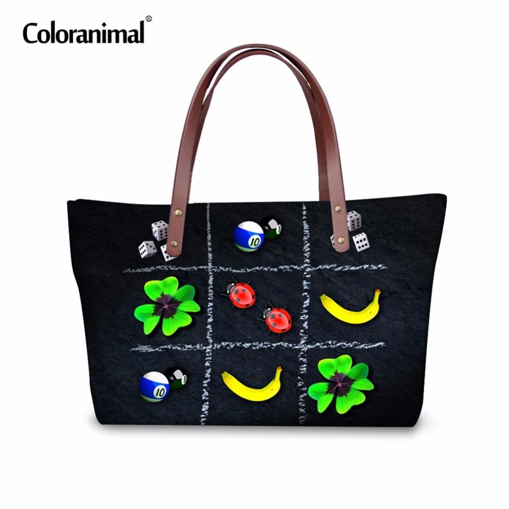 Colorido Animal lindo trébol Ladybug imprimir mujeres gran capacidad bolsos Drand diseñador Tote Bag Girls Customized Shoulder Bag