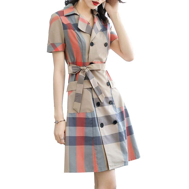 aliexpress.com - Plaid Vintage Office Dress Suit Collar belt Short Sleeve Elegant 2019 Summer New Women Ladies Dresses Plus Size Vestidos HJ297