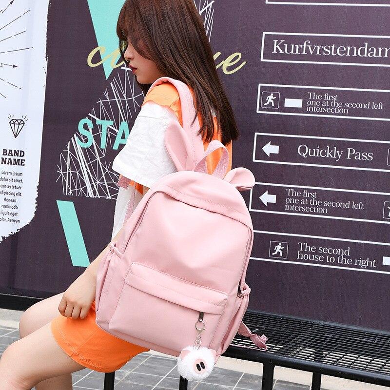 Nylon Woman Backpack Kawaii Ear Rabbit Travel Shoulder Bags School Bags For Teenage Girl Women's Bagpack Daily Street Backpacks