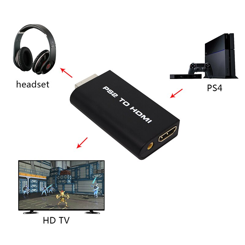 PS2 to HDMI 480i/480p/576i Audio Video Converter Adapter with 3.5mm Audio Output enlarge