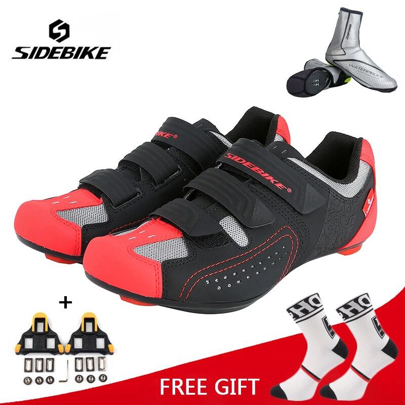 Zapatos de ciclismo profesional Sidebike para hombres y mujeres, zapatos de carrera para bicicleta de carretera, zapatillas ultraligeras atléticas transpirables con bloqueo automático