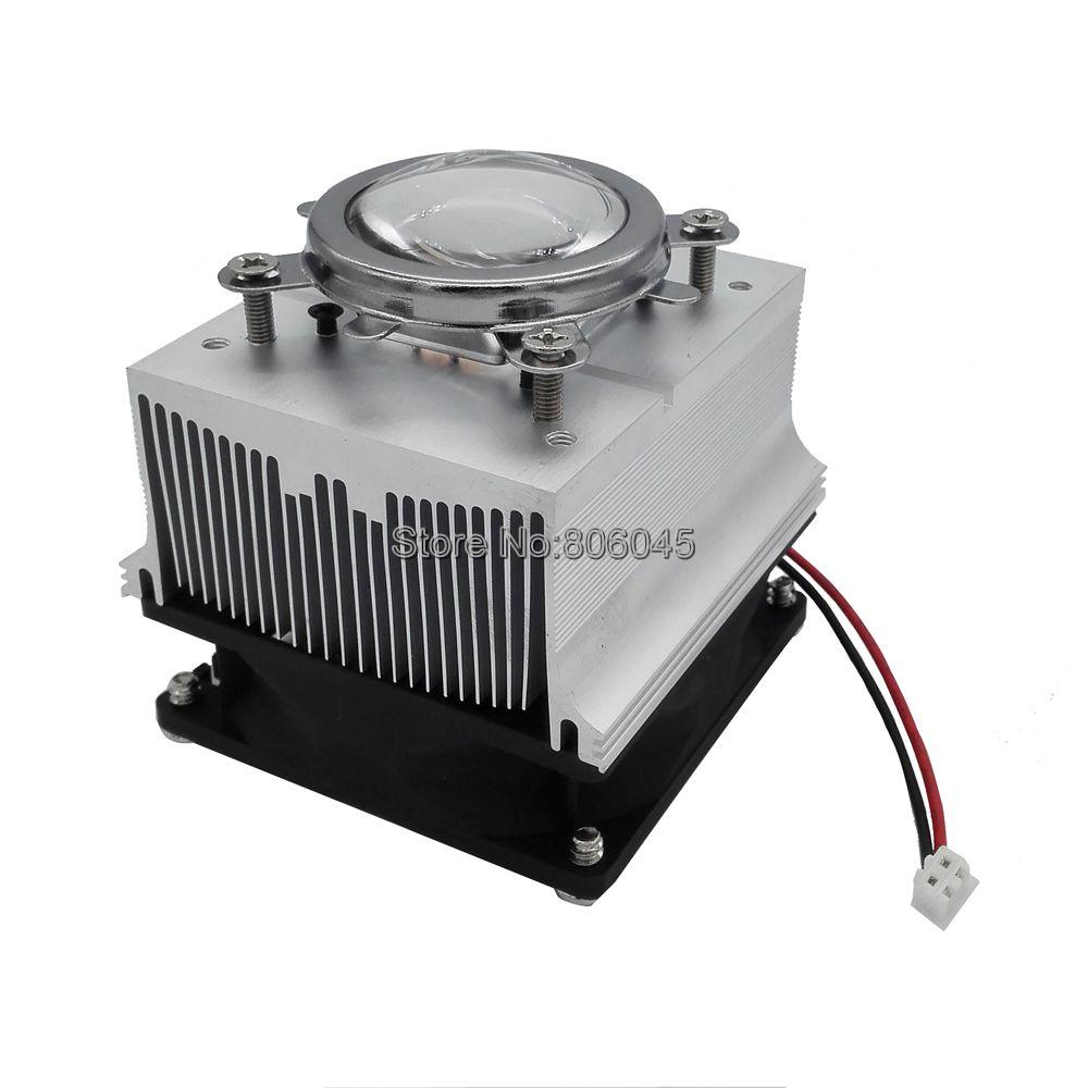 Lente de Cristal óptico de 44mm + soporte de Reflector + conjunto de ventilador de refrigeración de disipador térmico de aluminio para LED de 20W-50W, 60 grados o 90-120 grados