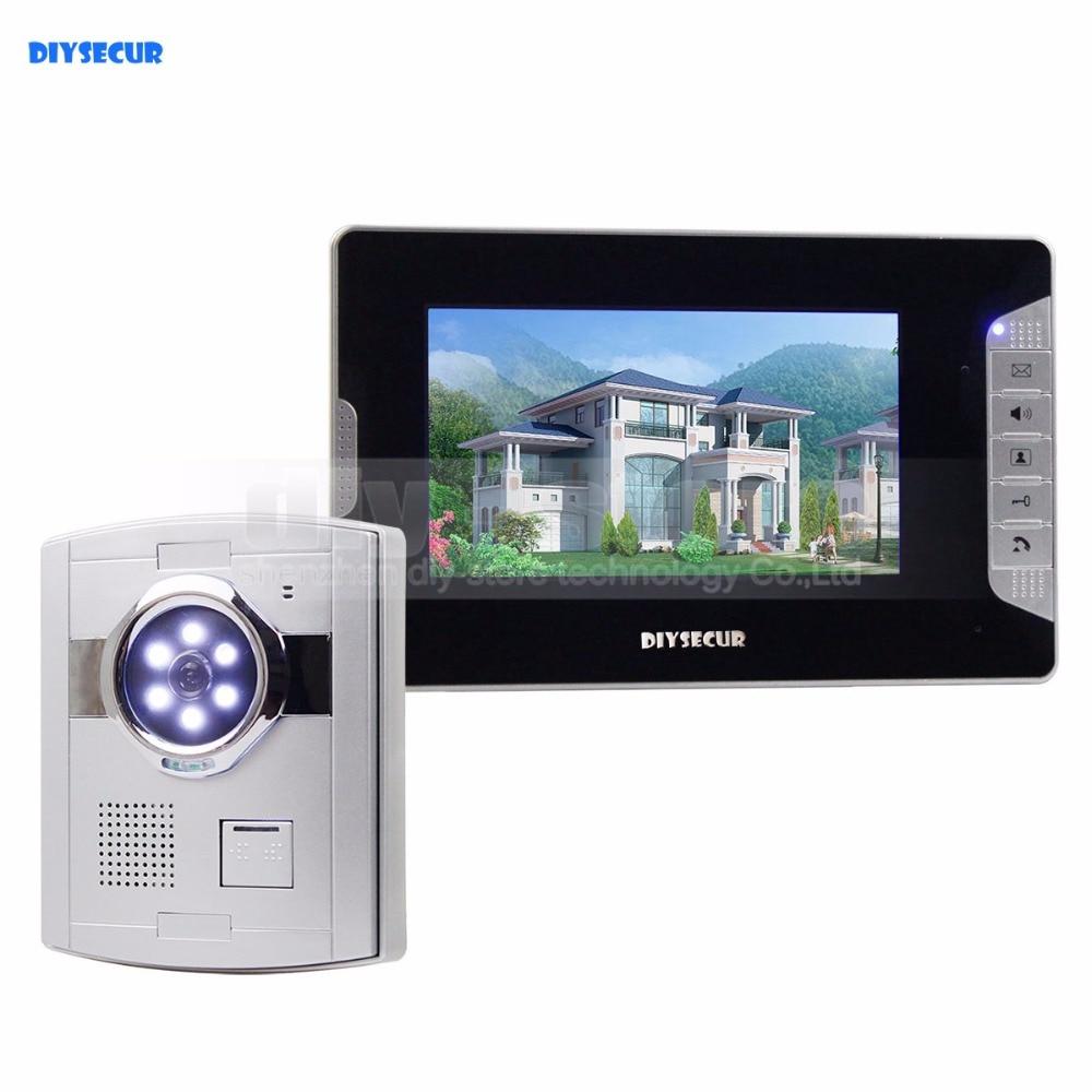 "DIYSECUR Home Security Intercom Video Door Phone System 1 x 700TVL Camera 1 x 7"" Monitor"