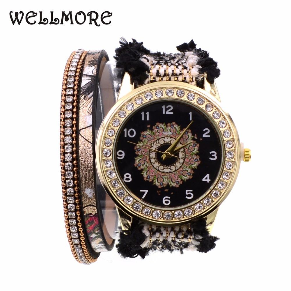 Женские кварцевые часы WELLMORE, часы-браслет из черной кружевной ленты