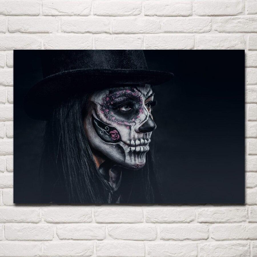 Maquillaje de terror fantasía hatter Día de la mujer muerta SH41 habitación hogar pared arte moderno decoración cartel con marco de madera