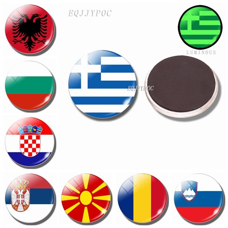 Светящиеся магниты на холодильник, флаг 30 мм, стеклянная наклейка на холодильник с флагом, Ватикан, Македония, Албания, Хорватия, Сан-Марино, Мальта, Италия, Испания