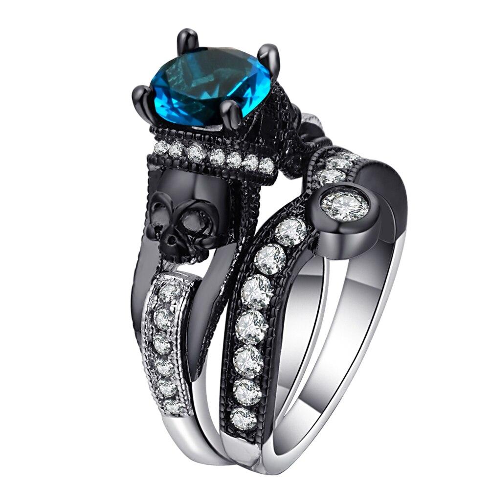 Hainon 2 pçs conjuntos de anel de caveira feminino masculino punk jóias charme preto/prata cor redonda conjuntos de anel de zircônia cúbica