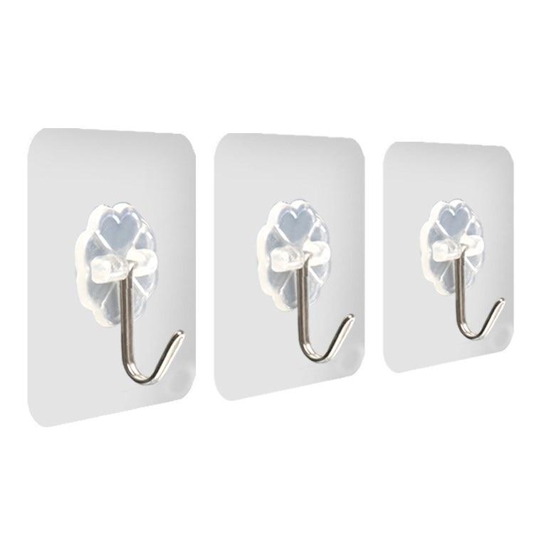 5PCs Transparent Strong Self-adhesive Door Hangers Wall Towel Mop Hand Bag Hooks For Hanging Kitchen Bathroom Accessories