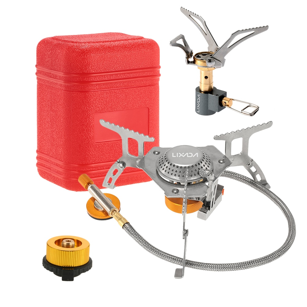 Lixada, juego de utensilios de cocina de Camping portátil de 3000W, miniestufa plegable de bolsillo, estufa de Gas de Camping, quemador dividido con adaptador de cabeza de Gas