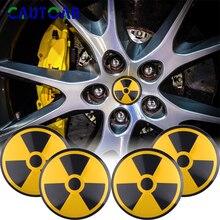 4 unids/pack 56mm coche de diseño de advertencia radiactiva emblema de radiación atómica tapacubos de coche Centro Cap Sticker Accesorios